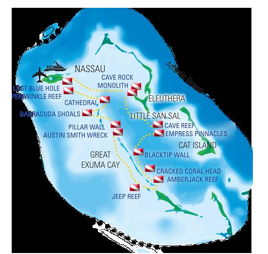 Bahamas Exumas Dive Site Map