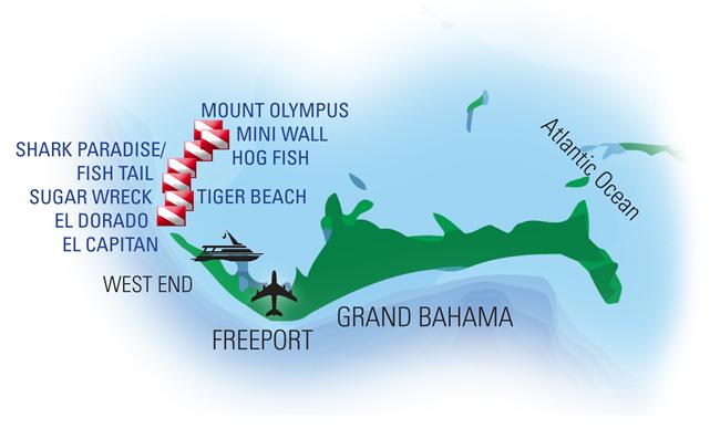 Tiger Beach Dive Sites Map