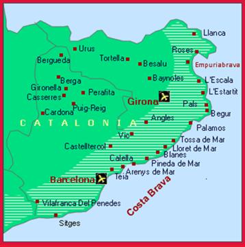 Costa Brava Dive Sites Map