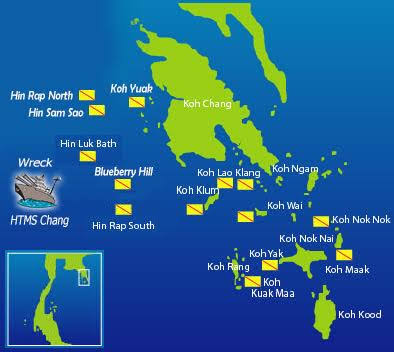 Koh Chang Dive Sites Map