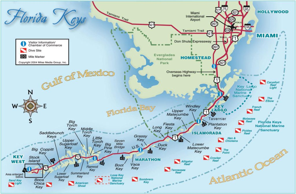 Florida Keys Dive Sites Map
