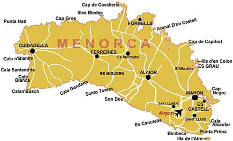 Menorca Dive Sites Map