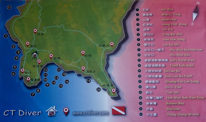 Kenting Dive Sites Map