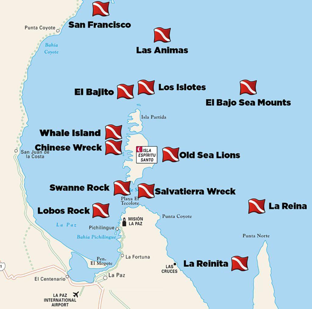 La Paz, Mexico Dive Sites Map