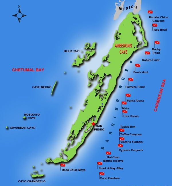 Ambergris Caye Dive Sites Map