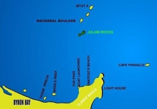 Byron Bay Dive Sites Map