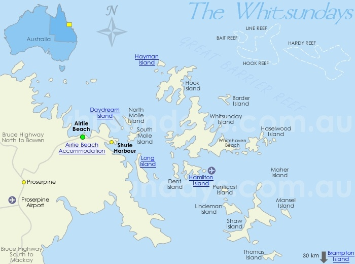 Whitsundays Islands Dive Sites Map