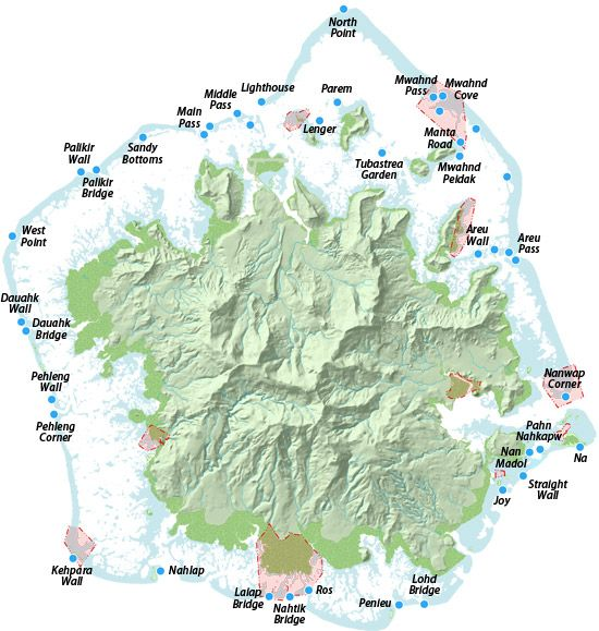 Pohnpei Dive Sites Map