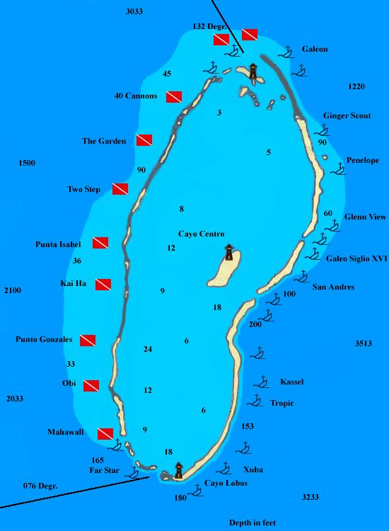 Banco Chinchorro Dive Sites Map