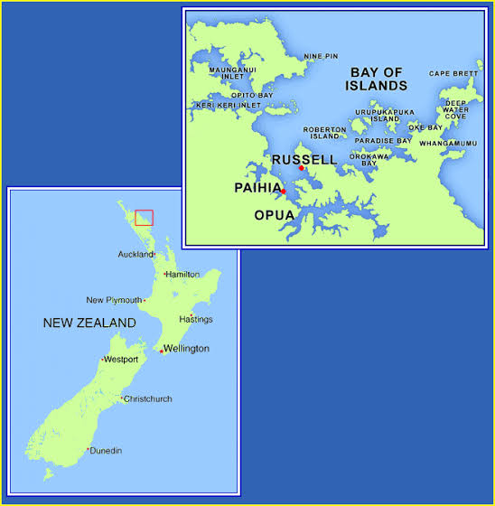Bay of Islands, New Zealand Map