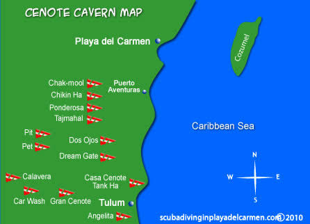 Yucatan Cenotes Scuba Diving Location Map