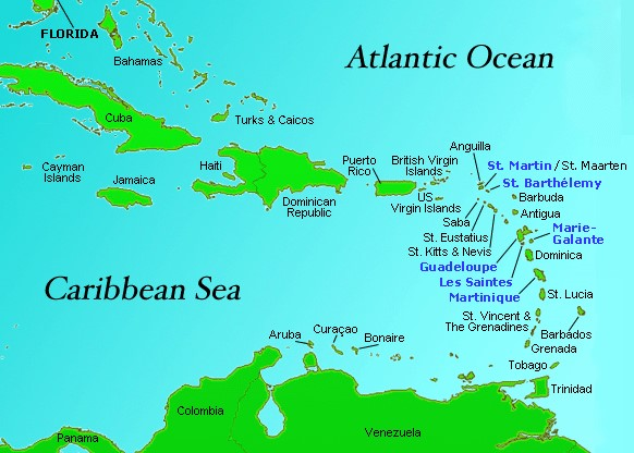St. Barts and French Caribbean Location Map
